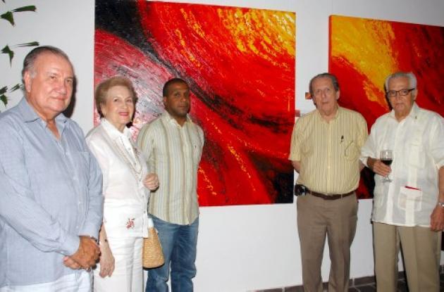 Manuel Domingo Rojas, Violeta de Sáenz, el expositor, Miguel Morales, Amaury Rom